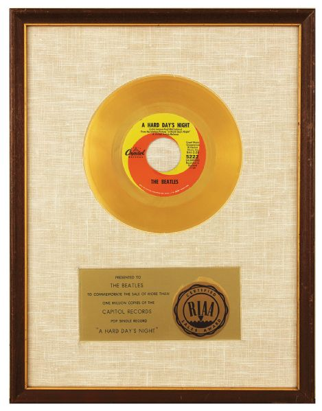 """A Hard Days Night"" Original RIAA 45 Coin Style White Matte 45 Record Award Presented to The Beatles"