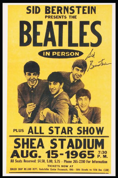 Sid Bernstein Signed Beatles Shea Stadium Reproduction Poster