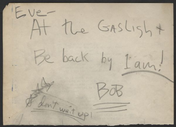 Bob Dylan Early Handwritten & Signed Note to Eve McKenzie