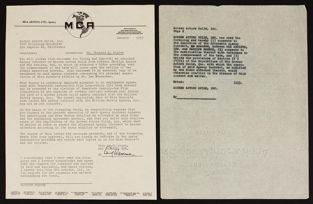 Lot Detail - Marilyn Monroe Original 1953 MCA/SAG Employment