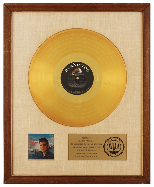 Elvis Presley Elvis'  Christmas Album Original RIAA White Matte Gold Record Album Award Presented to George Parkhill