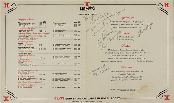 Elvis Presley Signed & Inscribed Las Vegas Hilton Hotel Menu