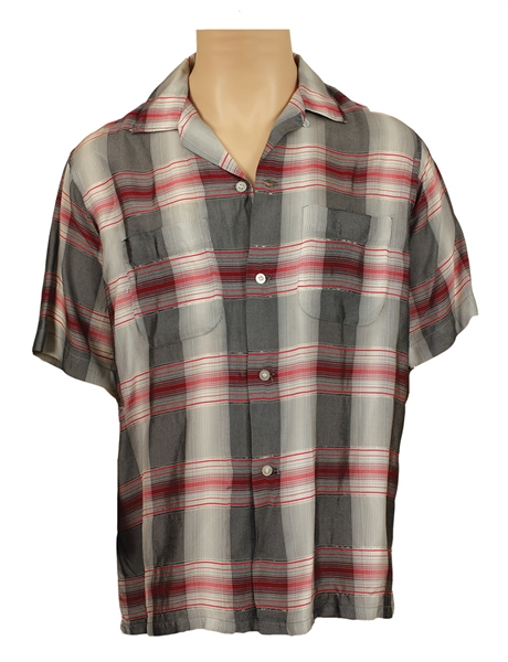 Elvis Presley Owned & Worn Custom Made Silver and Red Metallic Plaid Short Sleeved Shirt