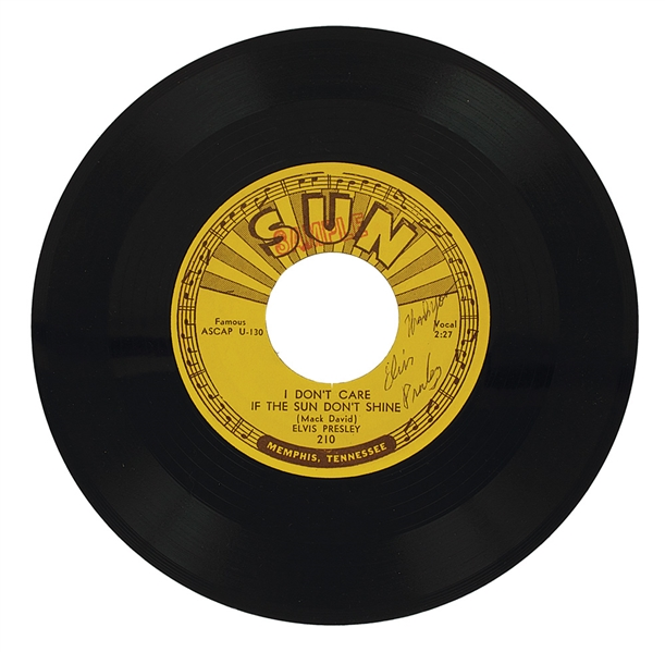 Elvis Presley Signed Sun Records 45 I Don't Care If The Sun Don't Shine