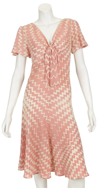 "Madonna Evita Production Worn Pink & White Zig Zag Striped Dress From ""Buenos Aires/Star Quality"" Rehearsal"