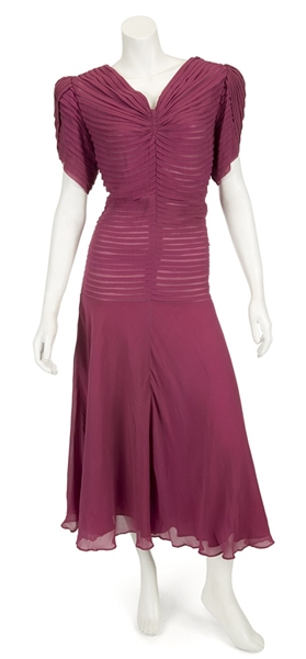 Madonna Evita Film Worn Long Burgundy Silk Dress From Musical Number Goodnight and Thank You