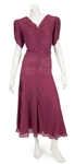 "Madonna ""Evita"" Film Worn Long Burgundy Silk Dress From Musical Number ""Goodnight and Thank You"""
