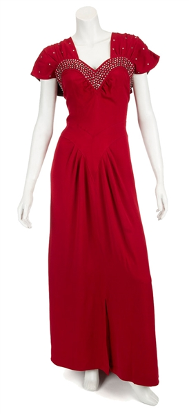 "Madonna Evita Film Worn Long Red Dress With Rhinestones From Musical Number ""Peron's Latest Flame"