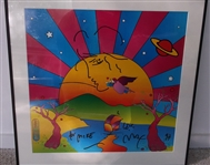 Peter Max Signed Original Print With Hand Drawn Sketch and Inscription