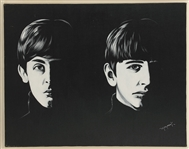 "Beatles ""The Beatles Meet 1963"" Original Triptych Paintings Signed by Artist Monrock"