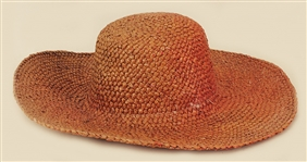 Liza Minelli Owned and Worn Dark Tan Wide Brimmed Straw Hat