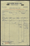 Bruce Springsteens Personal  1974 Horn Shop, Texas Music Store Receipt