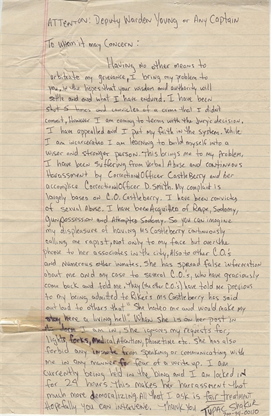 Tupac Shakur Two-Page Handwritten & Signed Letter From Prison to the Deputy Warden