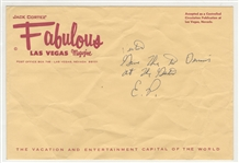 Elvis Presley Handwritten and Initialed Note to His Uncle Vester on Fabulous Las Vegas Magazine Envelope