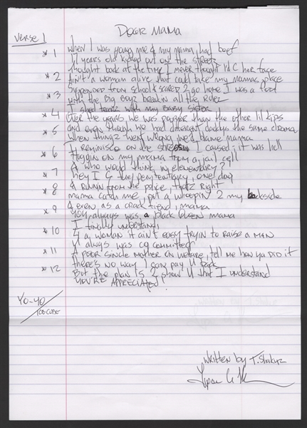 "Tupac Shakur ""Dear Mama"" Handwritten and Signed Lyrics"