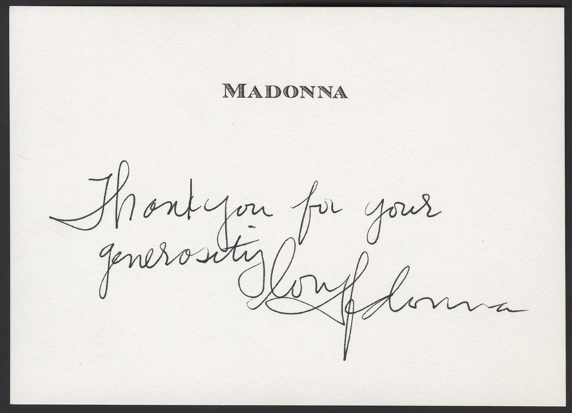 Madonna Signed & Inscribed Personalized Note Card