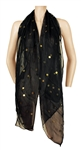 Madonna Owned and Worn  Jean-Paul Gaultier Large Black Sheer Scarf with Gold Sequins