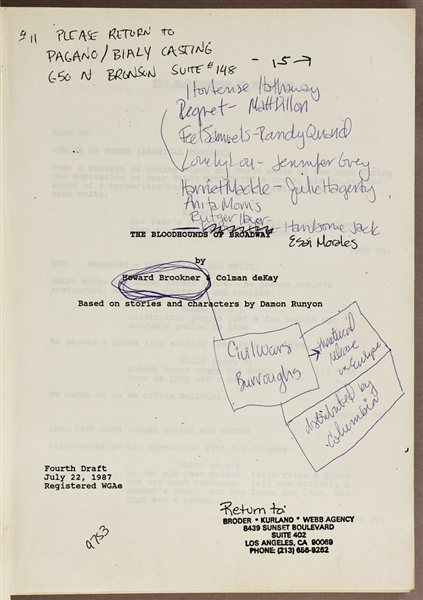 "Madonnas Hand Annotated  Personally Owned ""Bloodhounds of Broadway"" Movie Script"