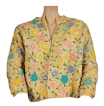 Liza Minnelli Owned and Worn Yellow Cardigan Sweater with Flowers