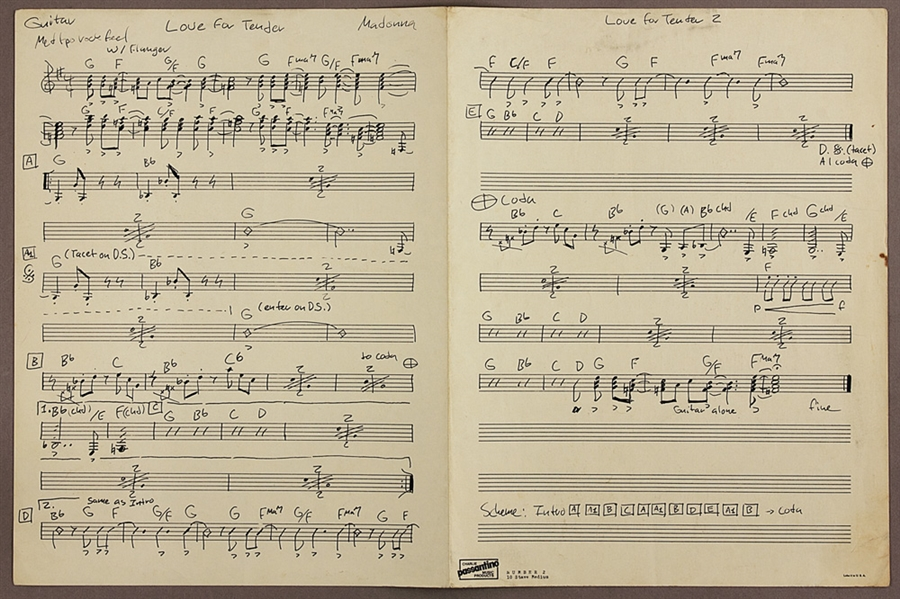 "Madonna Signed 1980 Original ""Love For Tender"" Musical Score for her Band ""Emmy"""