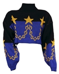 Janet Jackson Owned and Worn Black, Blue and Gold Turtleneck Cropped Sweater with Stars