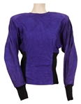 Janet Jackson Owned and Worn Purple Suede Long Sleeved Top with Black Side Panels