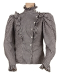 Janet Jackson Owned and Worn Black & White Checked Long Sleeved Shirt with Ruffles