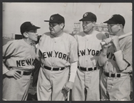 """Murderers Row"" Babe Ruth, Bob Muesel and Bill Dickey Original ""Pride of the Yankees"" Wire Stamped Photograph"