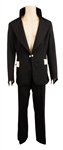 Elvis Presley Owned & Worn Black Jacket with White Suede Pocket Flat and Matching Black Pants