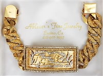 "Charlie Hodge Owned & Worn Custom Made ""TCB"" Diamond & 14K Gold Bracelet"