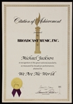 "Michael Jacksons Personal Original ""We Are The World"" BMI Citation of Achievement"