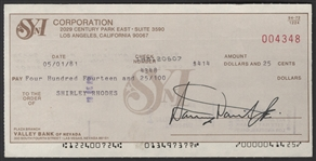 Sammy Davis, Jr. Signed Check