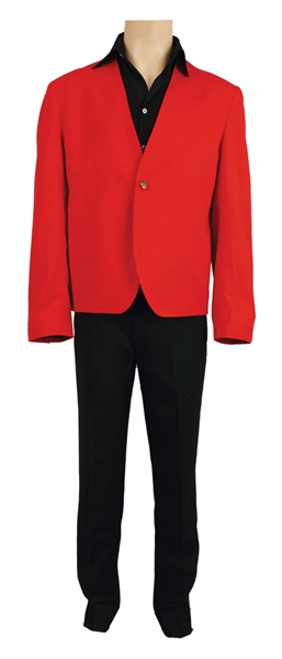 "Elvis Presley ""Viva Las Vegas"" Film Promotion Worn Custom Made  Red Bolero Jacket, Black Pants and Black Silk Shirt"