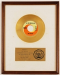 "Beatles ""All You Need Is Love"" Original RIAA White Matte Gold Single Record Award Presented to The Beatles"