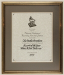 "Doobie Brothers 1979 Original Record of the Year Grammy Award Plaque for ""What A Fool Believes"""