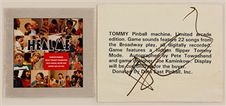 "Pete Townshend Signed ""Tommy"" Pinball Machine Game Card"