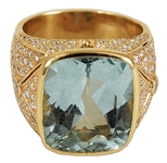 Elvis Presley Stage Worn Diamond & Aquamarine 18kt Gold Ring