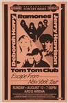 The Ramones Original 1990 Concert Poster Also Featuring Deborah Harry and the Tom Tom Club
