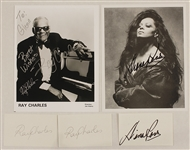 Ray Charles and Diana Ross Signed & Inscribed Photographs and Signed Cards