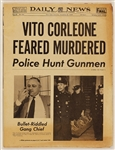 """The Godfather"" Original ""Vito Corleone Feared Murdered"" Daily News Newspaper Props"