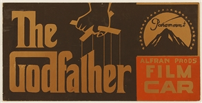 """The Godfather"" Original Movie Production Vehicle Placard"