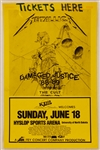 Metallica Original Damaged Justice Tour 88-89 Box Office On-Sale Concert Poster