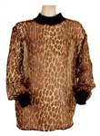 Liza Minelli Owned and Worn Brown and Black Animal Print Long Sleeved Sheer Top