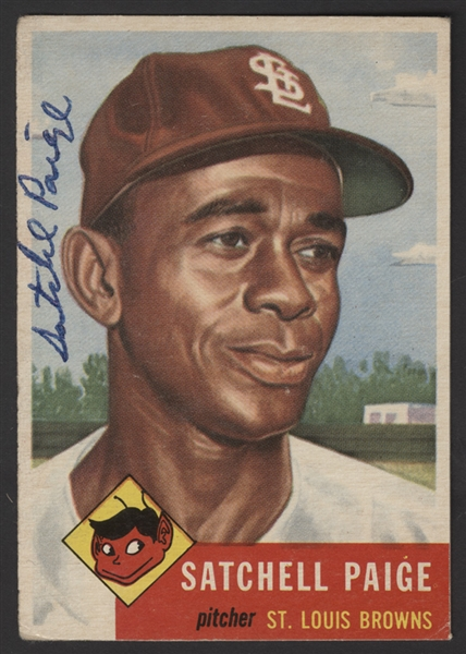 Satchel Paige Signed 1953 Topps Baseball Card