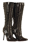 Lady Gaga Stage Worn Black Patent Leather Lace-Up Boots