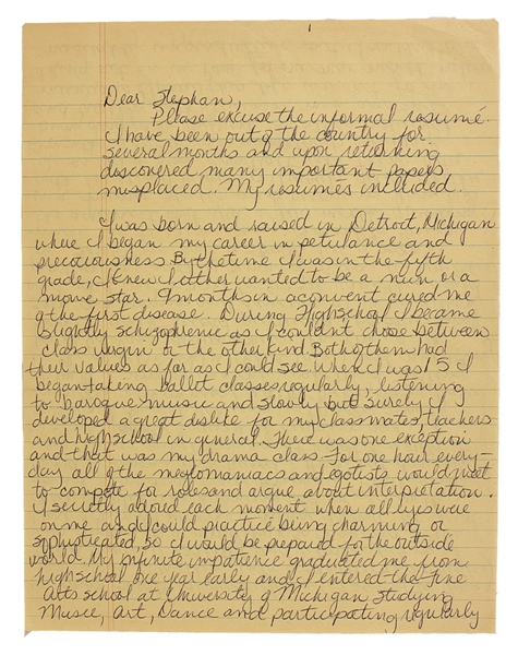 Madonna 1979 Handwritten & Signed Three-Page Detailed and Revealing Autobiographical Letter to Stephen Lewicki