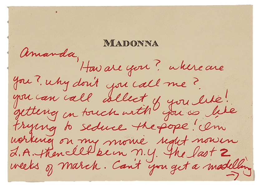 "Madonna "" Trying To Seduce The Pope"" Handwritten Love Letter to Amanda Cazalet"