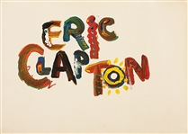 "Eric Clapton ""Behind The Sun"" Original Album Cover Painting Signed By Artist Larry Vigon From The Collection of Larry Vigon"