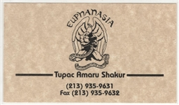 "Tupac Shakurs Personal ""Euphanasia"" Business Card"