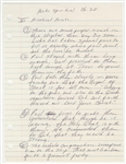 "Johnny Cash Handwritten ""Acts Spiritual"" Religious Study  Notes"